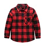 Kids Long Sleeve Plaid Flannel Shirt Red Black