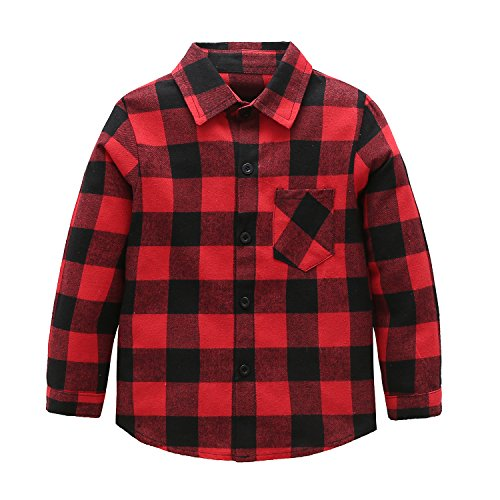 Kids Long Sleeve Boy's Girl's Plaid Flannel Shirt Red Black 6