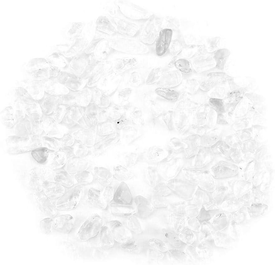 Wifehelper Chips de Piedra Caídos Triturada Cristal Natural Cuarzo Cristal Pequeño Pequeño Caída Piedras Preciosas 100 g Bolsos de Manojo(Blanco)