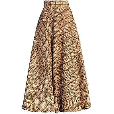Women Plaid High Wasit Woolen Winter High Waist Long Skirts Khaki