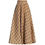 Little Walnut Women Plaid High Wasit Woolen Winter High Waist Long Skirts S