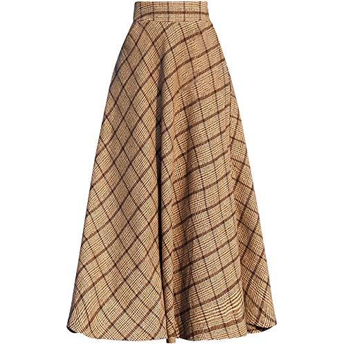 Little Walnut Women Plaid High Wasit Woolen Winter High Waist Long Skirts