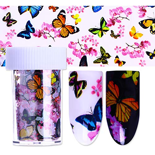 Butterfly Foil - BornBeauty 8 Colors Butterfly Starry Nail Foils Colorful Floral Nail Art Transfer Stickers Paper Holographic Nail Art Manicure Tips
