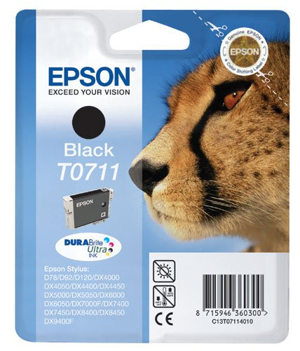 Epson T0711 - Cartucho de Tinta para impresoras (Negro, Epson Stylus D120 Epson Stylus D120 Network Edition Epson Stylus D78 Epson Stylus D92, Inyección de Tinta, 11,2 cm, 3 cm, 14,2 cm) No 1