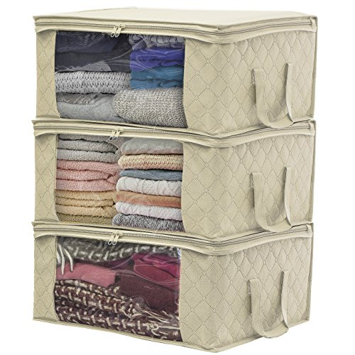 Sorbus Foldable Storage Bag Organizers, Large Clear Window & Carry Handles, Great for Clothes, Blankets, Closets, Bedrooms, and more (3 Pack, Beige) Garment Storage Boxes