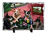 Home of Australian Cattle Dog 4 Dogs Playing Poker Photo Slate