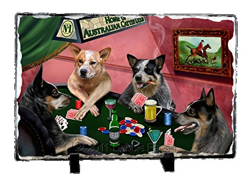 Home of Australian Cattle Dog 4 Dogs Playing Poker Photo Slate by Doggie of the Day
