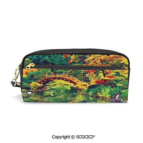 - Fasion Pencil Case Big Capacity Pencil Bag Makeup Pen Pouch Fairy Image of a Japanese Garden with an Old Ancient Bridge Over The Lake Nature Print Durable Students Stationery Pen Holder for School