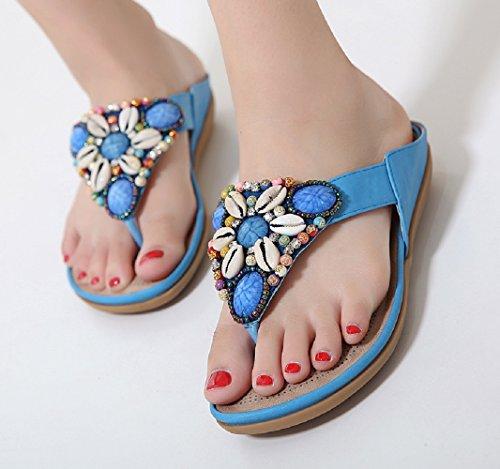 Verano Rojo Mujer Planas Flop Flip 45 Sandalias Azul 35 Chanclas Azul Beige Tacon Cuña Plataforma Mares Negro 7qwIptxW