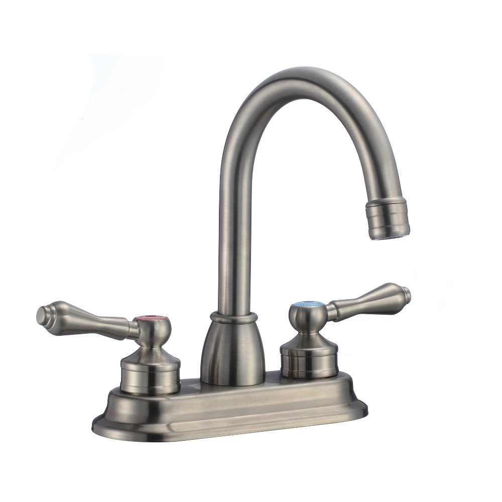 KDK Modern Lavatory Bathroom Vanity Sink Faucet with Two Handles Brushed Nickel (Brushed Nickel-21) by KDK BATH