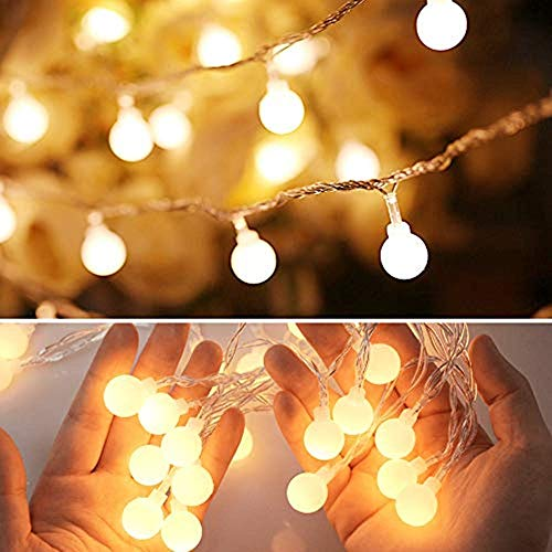 Tcamp Globe String Lights, 16.4FT 50 LED Christmas String Lights Battery Operated with Remote Timer, Warm White Fairy Lights for Christmas Tree Indoor Outdoor Patio Party Decoration [8 Working Modes] -