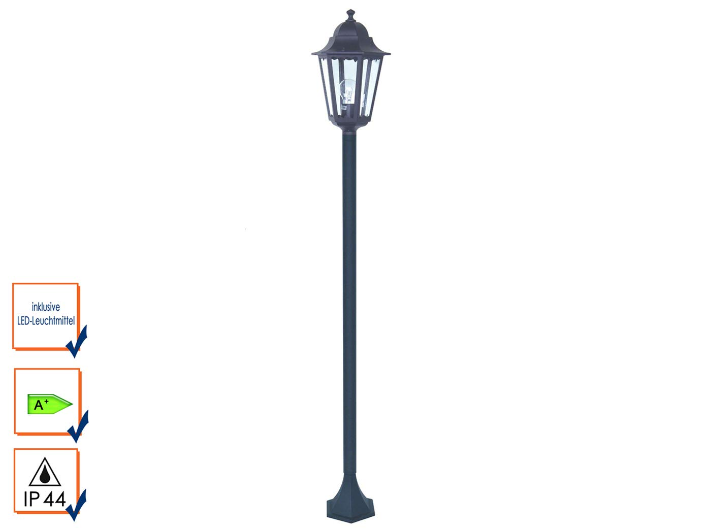Jardín Farol/lámpara de pie Classico con bombilla LED ...