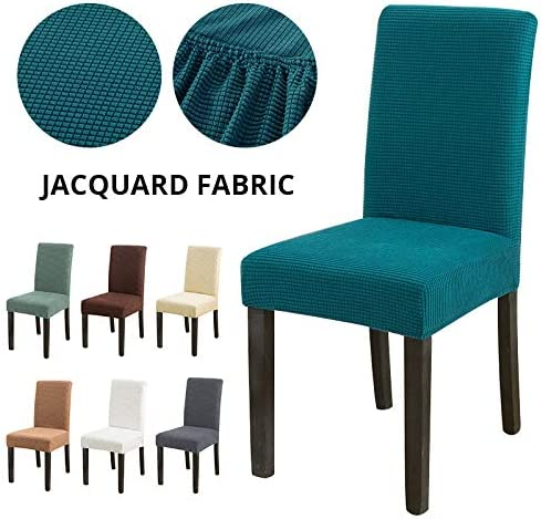 KDSFXG Jacquard Extensible Dining Chair Cover Spandex Slipcover Funda para sillas Sillas de Cocina Comedor Fundas para sillas Estiramiento elástico, café Tipo 2, 6 Piezas AA