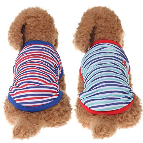 Yunison Dog Tank Top t Shirts, 2pc Anchor Stripe Shirt for Small Pets Clothes, Soft & Comfy & Elastic