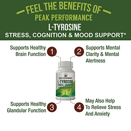 L-Tyrosine for Adrenal Health Support by Peak Performance. Amino Acid Supplement for Balanced Cortisol Levels, Mental Clarity and Mood Support. Reduce Brain Fatigue and Brain Fog (1 Pack) by Peak Performance Coffee (Image #3)