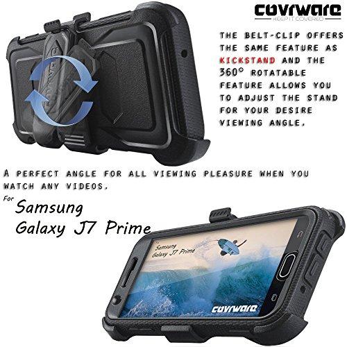 Samsung Galaxy J7 Prime/J7 Sky Pro/J7 Perx/J7 V 2017/J7 2017 Case, COVRWARE [Aegis Series] w/Built-in [Screen Protector] Heavy Duty Full-Body Rugged Holster Armor Cover [Belt Clip][Kickstand], Black by COVRWARE (Image #5)
