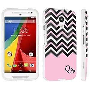 DuroCase ? Motorola Moto G 2nd Gen. 2014 Hard Case White - (Black Pink White Chevron Q)