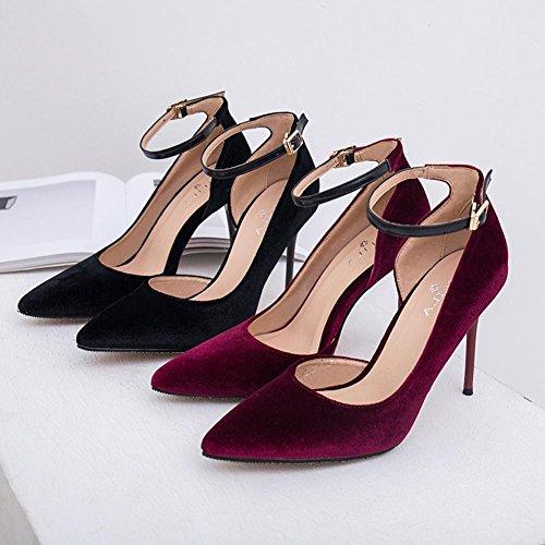 L@YC® Mujeres Tacones Altos Vaciar Punta Sandalias Verano Bellas Con Una Palabra Hebilla Zapatos Negro Zapatos Señoras Red