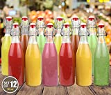 : Estilo Swing Top Easy Cap Clear Glass Beer Bottles, Round, 16 oz, Set of 12