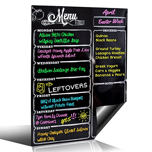 Weekly Dry Erase Meal Planner Board Calendar Fridge Magnet - 7 Day Magnetic Chalkboard Style Healthy Family Meals Menu & Grocery Coupon Organizer for Fridge - Buy Once & Use Forever! - Great Design ()
