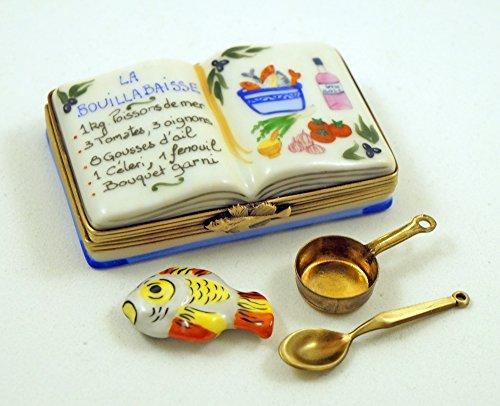 celain Hand Painted Limoges box La Bouillabaisse Recipe Book with Removable Fish Pot Ladle (Limoges Fish)