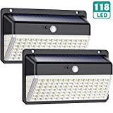 Solar Lights Outdoor 118 Led, QTshine [2200mAh 270º Wide-Angle Lighting] Solar Motion Sensor Lights, 3 Modes IP65 Waterproof Solar Wall Lights Wireless Solar Security Night Lights for Deck, Fence, Garage, Yard, Front Door, Pathway(2 Pack)