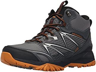 Merrell Men's Capra Bolt Mid Waterproof Hiking Boot, Grey/Orange, 11.5 M US