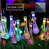 MZD8391 Solar String Lights, 30 LED Waterdrop String Lights, Waterproof Decorative String Lights for Patio, Garden, Gate, Yard, Party, Wedding (Multi-Color)