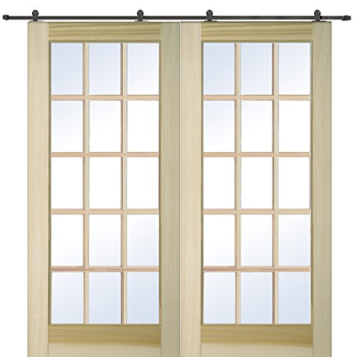 National Door Company Z009642 Unfinished Poplar Wood 15 Lite True Divided Clear Glass, 60'' x 80'', Barn Door Unit by National Door Company