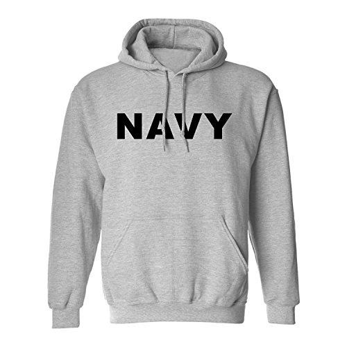 NAVY Hooded Sweatshirt in Gray - Medium (Pullover Hooded Navy Sweatshirt Us)