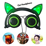 iSTYLE Cat Ear Headphones,Foldable Flashing Glowing cat ear headphones Gaming Headset Earphone with LED light For PC Laptop Computer Mobile Phone (Green)