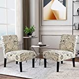 Harper&Bright Designs Upholstered Accent Chair Armless Living Room Chair Set of 2 (Beige&Script)