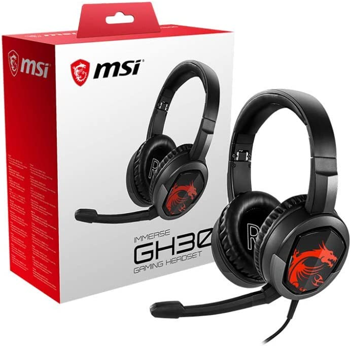 MSI Gaming Detachable Microphone Lightweight and Foldable Headband Design 7.1 Surround Sound Stereo Gaming Headphone (Immerse GH30), Black , Large