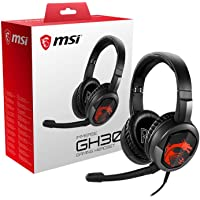 MSI Gaming Detachable Microphone Lightweight and Foldable Headband Design 7.1 Surround Sound Stereo Gaming Headphone (Immerse GH30), Black, Large