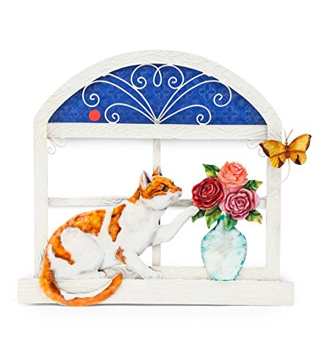 Cat and Butterfly 3-D Metal Wall Art - 18 W x 17 H x 1 D by Wind & Weather