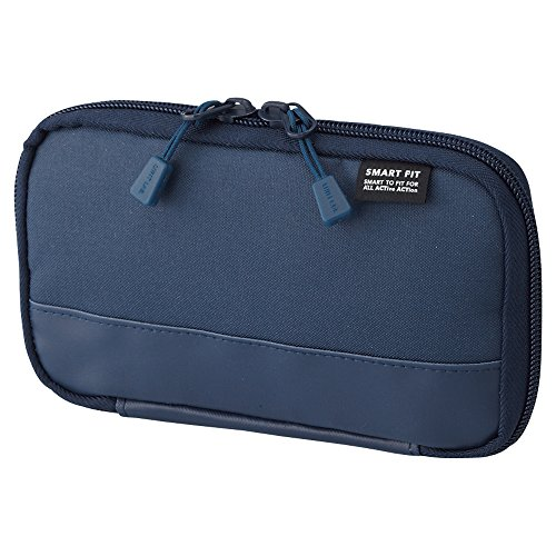 (LIHIT LAB. Compact Pen Case (Pencil Case), Water & Stain Repellent, Navy, 3.5