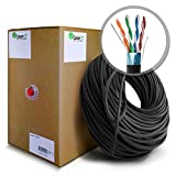GearIT CAT5E Outdoor Ethernet Cable Bulk 1000 Feet - Shielded Direct Burial Rated (CMX) Cat 5e 350Mhz 24AWG SOLID Copper Wire STP Pull Box Cat5e, Black
