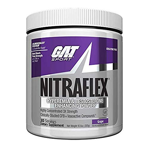 GAT - NITRAFLEX - Testosterone Boosting Powder, Increases Blood Flow, Boosts Strength and Energy, Improves Exercise Performance, Creatine-Free (Grape, 30 Servings) by GAT Sport