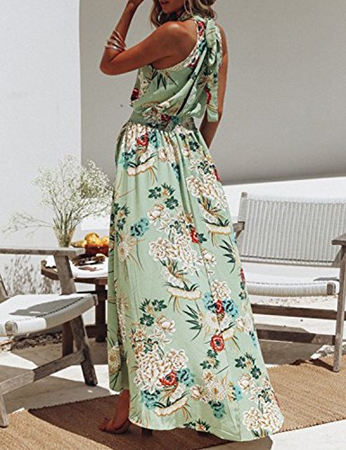 Dress Cerimonia Vestito Casual chuangminghangqi Fantasia Abito Chiaro Elegante Schienale Estivo Floreale Donne da 458 Lungo Sera Fiori Maniche verde Fascia Senza qwIzTpxwf