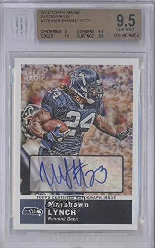 Lynch Marshawn Football Autographed - Marshawn Lynch BGS GRADED 9.5 (Football Card) 2010 Topps Magic - [Base] - Autographs [Autographed] #179