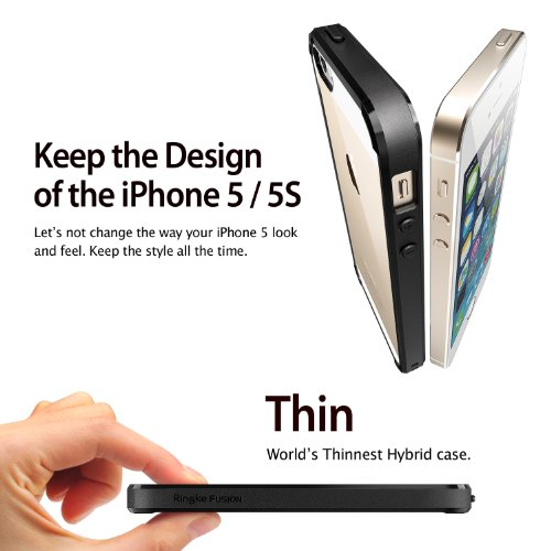iPhone 5S /5 Case, Rearth Ringke Fusion Shock Absorption Bumper Premium Hard Case for Apple iPhone 5/5S - Black