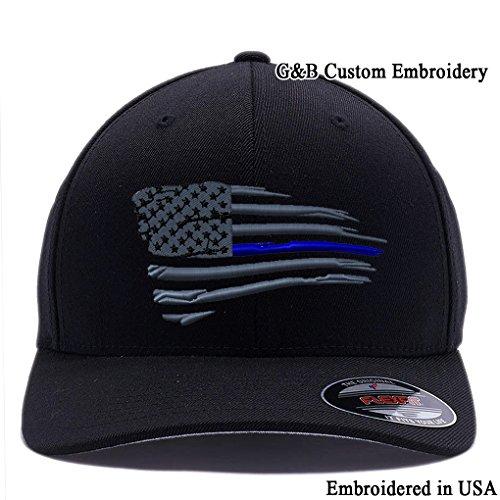 New American Thin Blue Line Waving Flag. 6477 Flexfit Wool Blend Cap (S/M, Black)