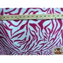 Fleece Fabric Printed Animal Print *Dark Pink White Zebra* Fabric By the Yard