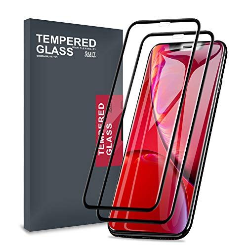 Meidom iPhone XR Screen Protector [2-Pack] Full Coverage Case Friendly No-Bubble 9H Tempered Glass iPhone XR - Black