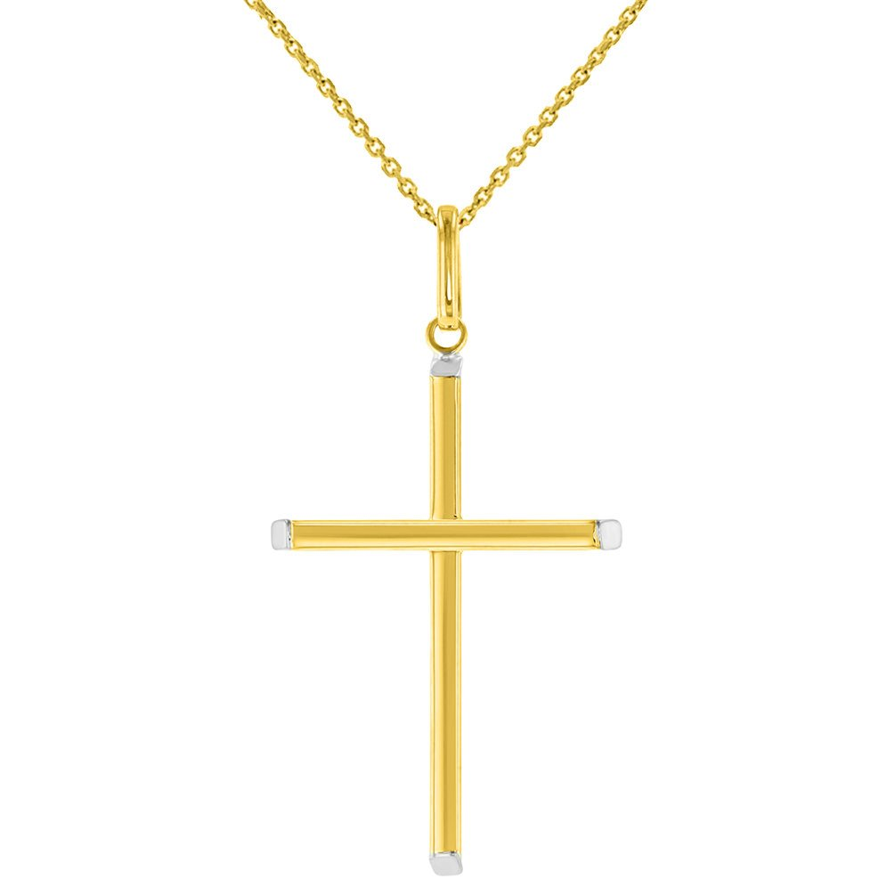 High Polished 14K Two-Tone Gold Plain Slender Cross Pendant with Chain Necklace, 16''
