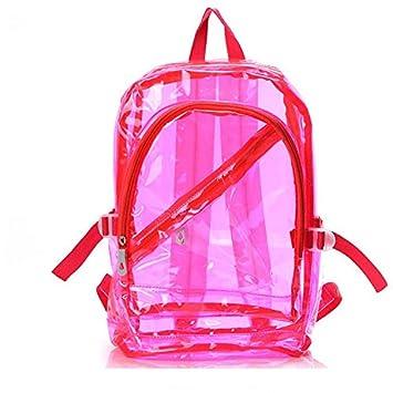 sishe Mujer Niña Moda transparente bolsa de plástico mochila bolso de escuela Bookbag, rosa