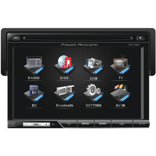 POWPD710B - POWER ACOUSTIK PD-710B 7 Single-DIN In-Dash TFT LCD Touchscreen DVD Receiver (With Bluetooth)