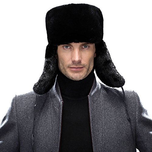 URSFUR Men's Winter Leather & Mink Fur Russian Trooper Ha...