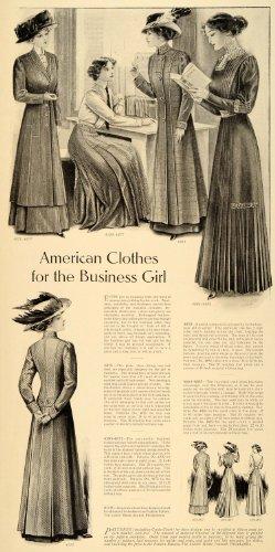 1909 Print Business Clothes Coat Hat Dress Felt Silk - Original Halftone Print