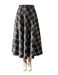 Femirah Women's Vintage Midi Plaid Wool A Line Skirts